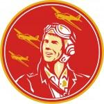 Illustration of a world war two pilot airman aviat...