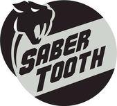 Saber Tooth Tiger Cat Head Circle Retro