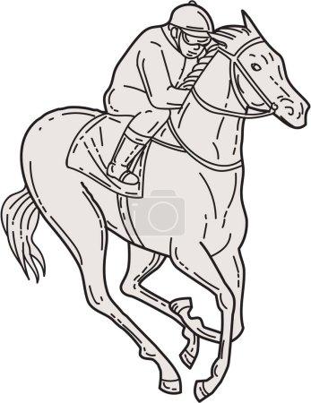 Jockey Riding Thoroughbred Horse Mono Line