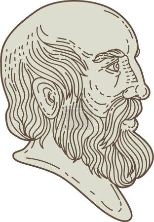 Plato Greek Philosopher Head Mono Line