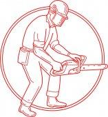 Lumberjack Arborist Chainsaw Circle Mono Line