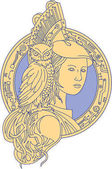 Athena with Owl on Shoulder Circuit Circle Mono Line