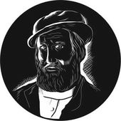 Hernan Cortes Conquistador Woodcut