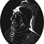 Постер, плакат: Vasco Nunez de Balboa Conquistador Woodcut