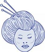 Geisha Girl Head Drawing