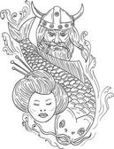 Viking Carp Geisha Head Black and White Drawing