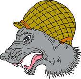 Grey Wolf Head Growling WW2 Helmet Drawing