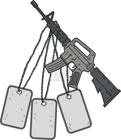 Illustration pour Dessin d'un croquis illustrant un M4, une carabine à gaz à percussion directe refroidie à l'air, alimentée par un chargeur, utilisée par les unités de combat de l'armée des États-Unis et du Corps des Marines des États-Unis comme arme d'infanterie principale avec des plaques d'identité géantes accrochées - image libre de droit