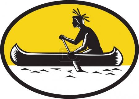 Native American Indian Paddling Canoe Woodcut