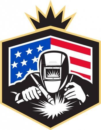 Illustration pour Illustration de soudage à l'arc de soudeur vue de l'avant fixé à l'intérieur du bouclier avec des étoiles américaines et drapeau rayures en arrière-plan fait dans un style rétro . - image libre de droit