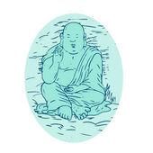 Gautama Buddha Lotus Pose Drawing