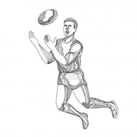 Aussie Rules Football Player Jumping Doodle