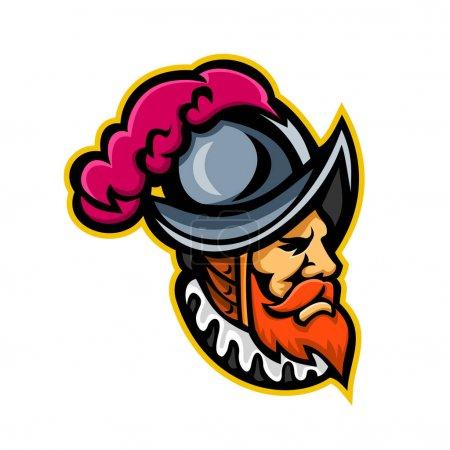 Mascot icon illustration of head of a Spanish Conq...