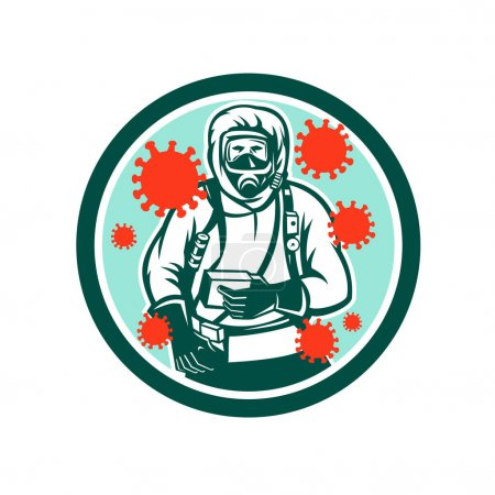 Illustration of a doctor or medical worker in protective or hazchem suit viewed from front with coronavirus or covid-19 floating set inside circle on isolated background done in retro style.
