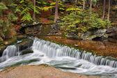 Water Cascade in Szklarka Stream in Autumn