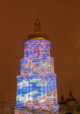 KYIV, UKRAINE - DEC 22, 2017: Closing of the year of Japan in Ukraine on Sofiyska Square 3D-mapping-show the bell tower of St. Sophia, in Kyiv, Ukraine.