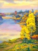 Birches near lake