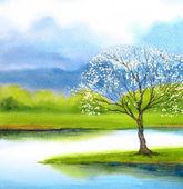 Watercolor landscape. Flowering tree by lake
