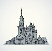 Dormition Cathedral, Poltava, Ukraine. Vector sketch