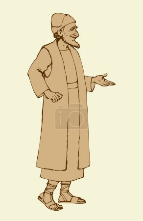 Old Jew in national dress. Vector drawing