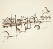 Old famous stone bridgework road Ile de la Cite Freehand outline ink hand drawn picture sketchy in art retro doodle contour style pen on paper Panoramic scenic view with space for text on white sky