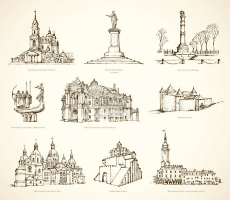 Ukrainian famous historical monuments. Vector sketch