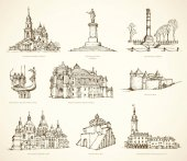 Ukrainian famous historical monuments Vector sketch