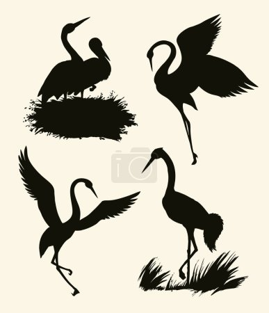 Vector background with pairs of storks in the nest