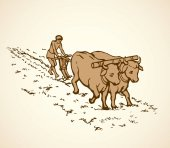 Vector drawing Primitive agriculture Peasants treated field