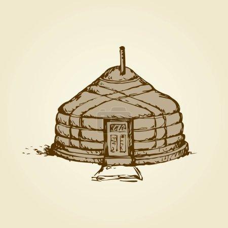 Yurt. Vector drawing