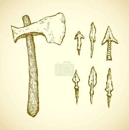 Aged tribal sharp arrow shaft set and primitive ax...