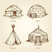 Ethnic homes of different nations Vector drawing