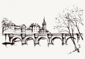 Cityscape with bridge over river Vector drawing