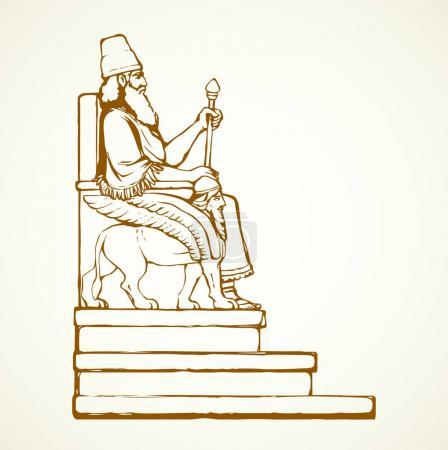 Illustration pour Passé célèbre règle sémitique biblique Sargon en diadème. Croquis d'image d'emblème dessiné à la main à l'encre dans un style graphique de dessin animé d'art rétro avec espace pour le texte sur fond de papier blanc. Portrait de personne ancien profil - image libre de droit