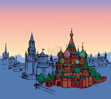 Place Rouge, Moscou. Dessin vectoriel