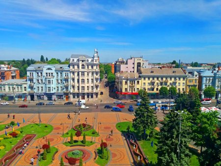 "View of Soborna square and former hotel ""Savoy"" (1912), now it is the hotel ""Ukraine"", Vinnytsia, Ukraine"