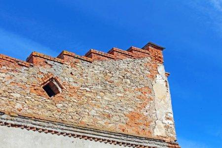 Wall over blue sky in Medzhybizh, Ukraine
