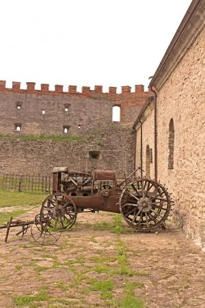 Old vehicle in Medzhybizh castle, Ukraine. Medzhybizh Castle, built as a bulwark against Ottoman expansion in the 1540s, became one of the strongest fortresses of the Crown of the Kingdom of Poland in Podolia
