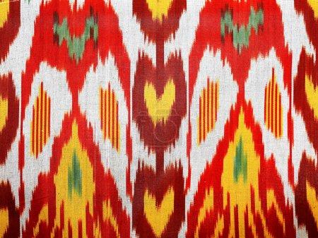 Foto de Materia de colorido oriental patrón en la textura del algodón - Imagen libre de derechos