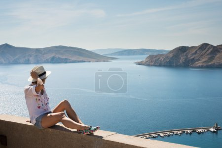 Traveler woman lying outdoor