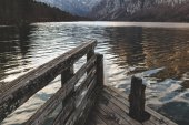 Amazing lake scenery with wooden jetty