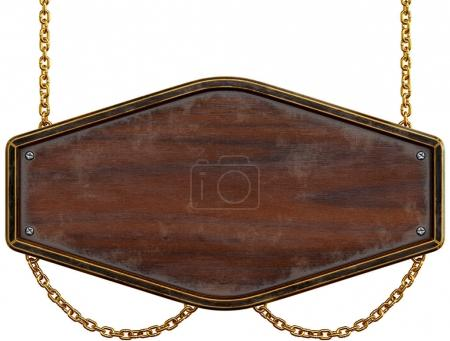Photo for Wooden signboard with chain. Isolated on white background. 3d rendering. - Royalty Free Image