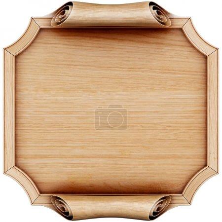 Photo pour Panneau en bois avec cadre en bois. Isolé sur blanc. Rendu 3d . - image libre de droit