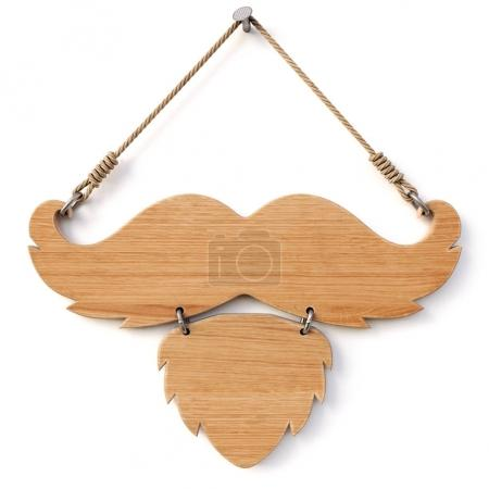 Wooden sign with mustache and beard for barbershop