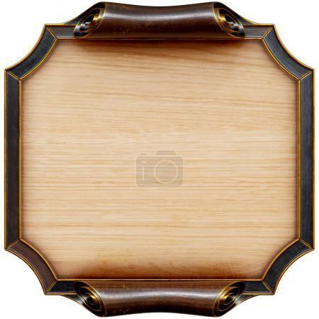 Photo pour Panneau en bois avec cadre en bois brun. Isolé sur blanc. Rendu 3d . - image libre de droit