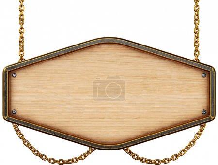 Photo pour Panneau en bois avec chaîne. Isolé sur fond blanc. Rendu 3d . - image libre de droit