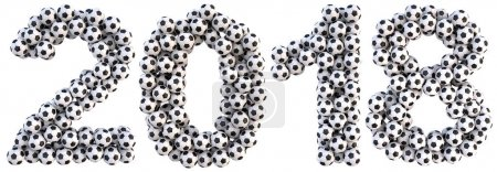 new 2018 year from the soccer balls. isolated on white. 3D illustration