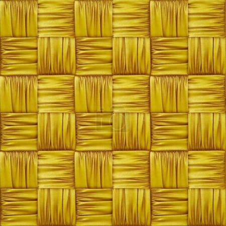 woven rattan with patterns of yellow fabric