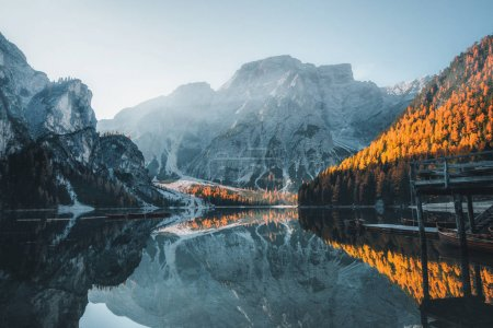 Photo for Boats on the Braies Lake ( Pragser Wildsee ) in Dolomites mountains, Sudtirol, Italy - Royalty Free Image
