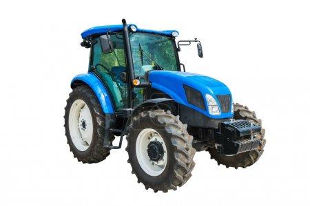 Photo pour Tracteur agricole moderne isolé sur fond blanc avec chemin de coupe . - image libre de droit